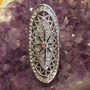 Jewelry - Simulated Diamond Elongated Scroll Ring Size 7